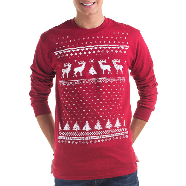 Mens Reindeer Long Sleeve Tee