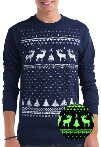 Mens Glow in the Dark Long Sleeve Tee Reindeer