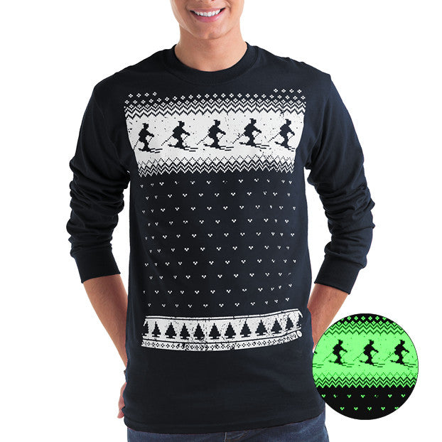 Mens Glow in the Dark Long Sleeve Tee Ski