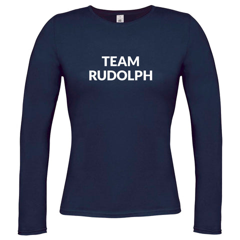 Womens Team Rudolph Long Sleeve T-shirt - Navy