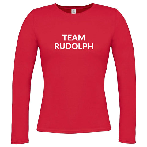 Womens Team Rudolph Long Sleeve T-shirt - Red