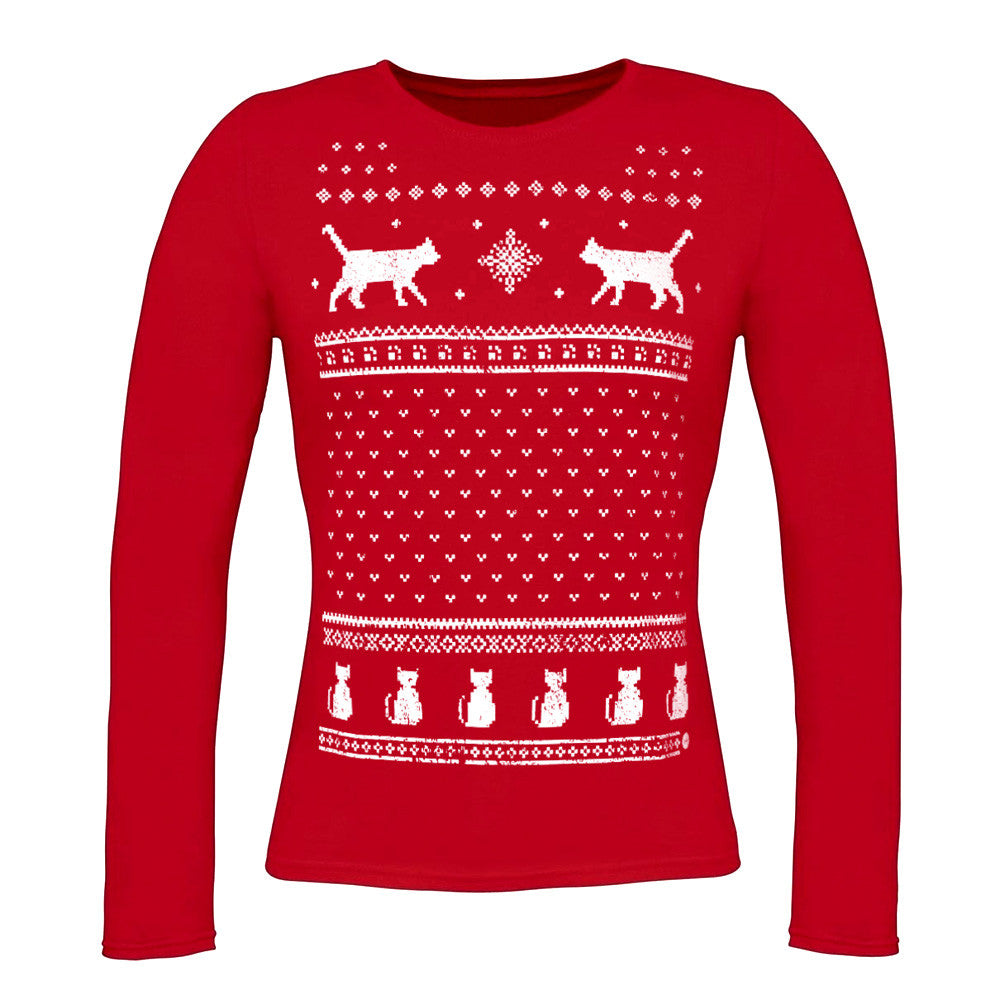 Womens Christmas Cats Long Sleeve Tee