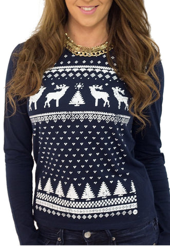 Womens Reindeer Long Sleeve Tee