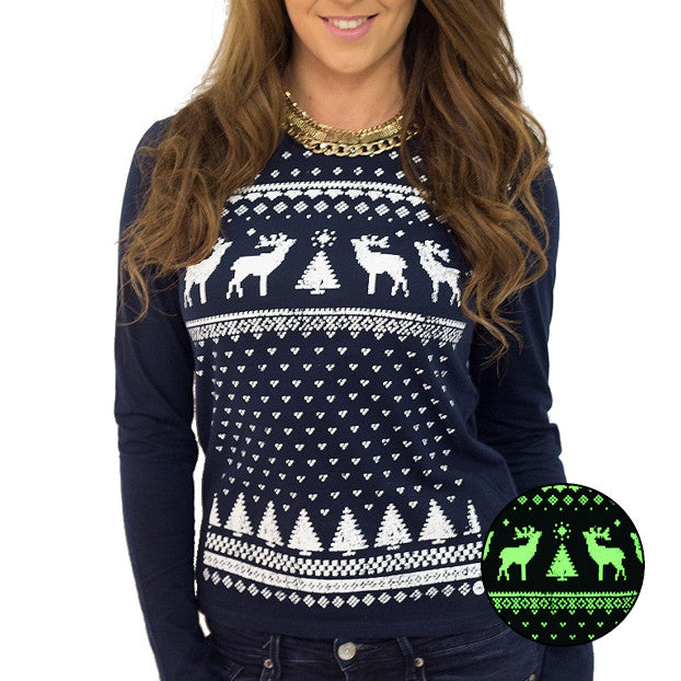Womens Glow in the Dark Long Sleeve Tee Reindeer