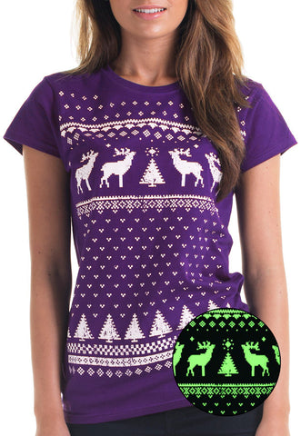 Womens Glow in the Dark Reindeer