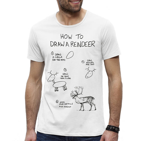 Mens How to Draw a Reindeer T-shirt