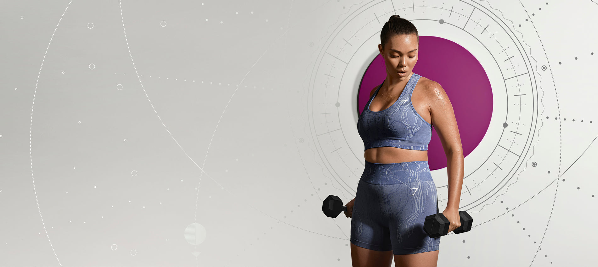 Model posing in front of an astrological background while wearing the new Mercury collection.
