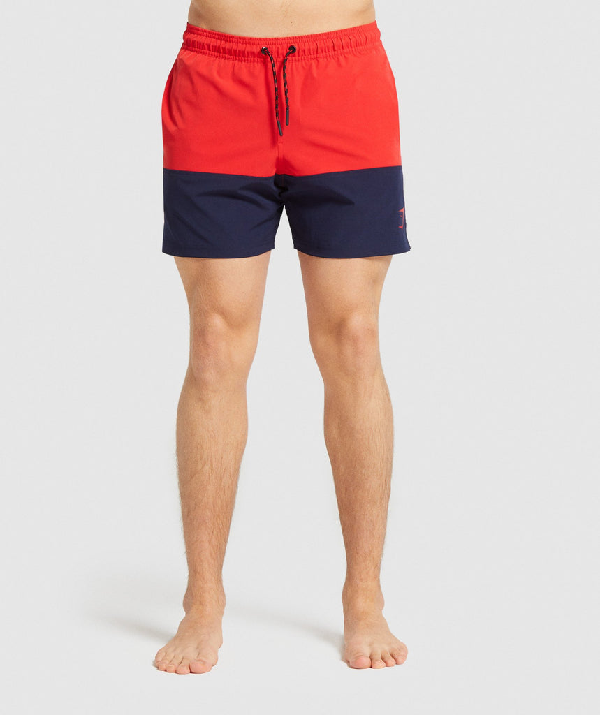 Gymshark Colour Block Swim Shorts - Red 1