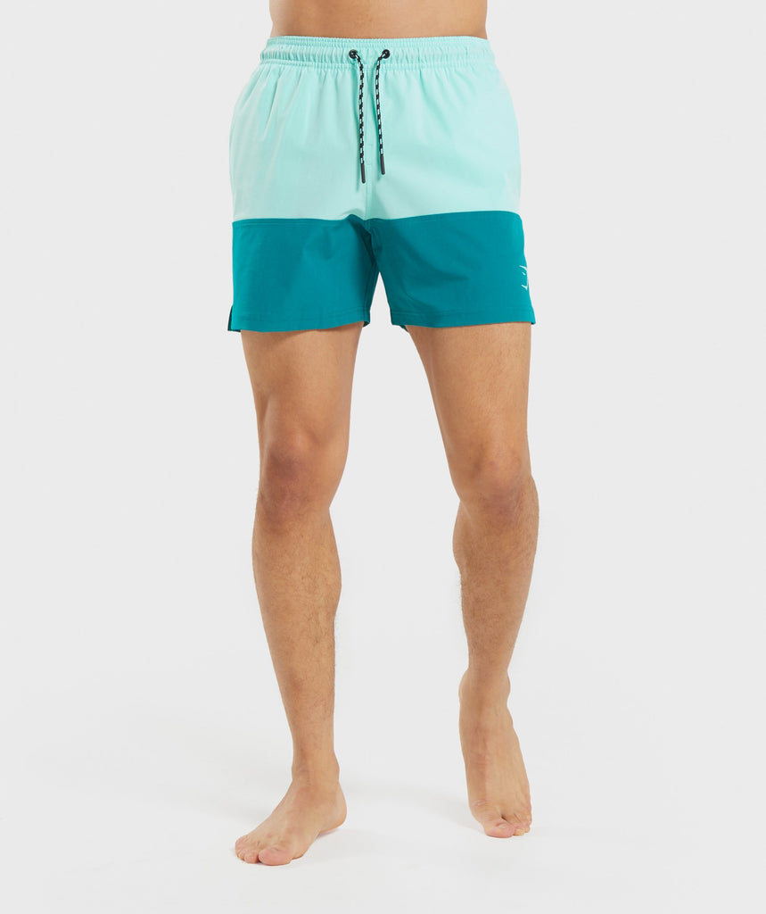 Gymshark Colour Block Swim Shorts - Light Green 1
