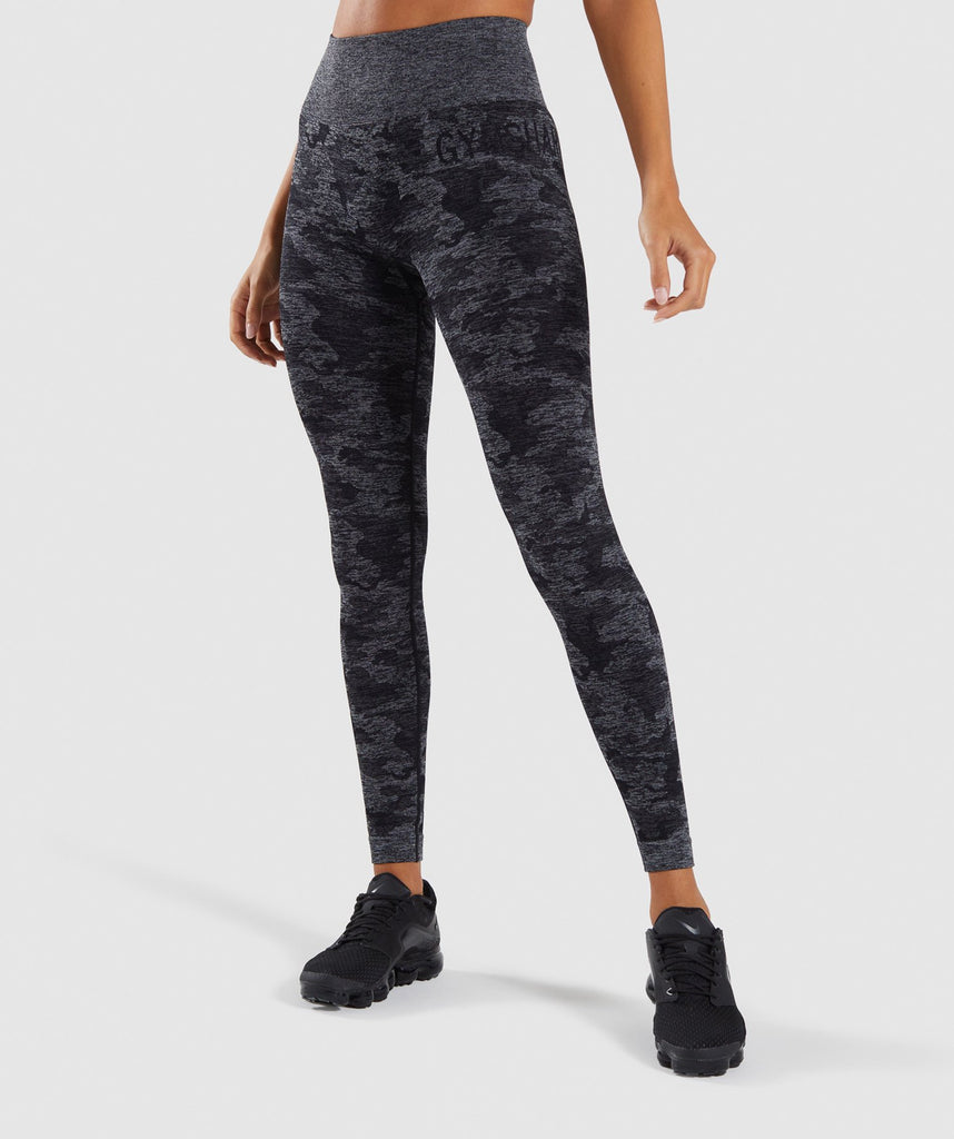 Gymshark Camo Seamless Leggings - Black 1
