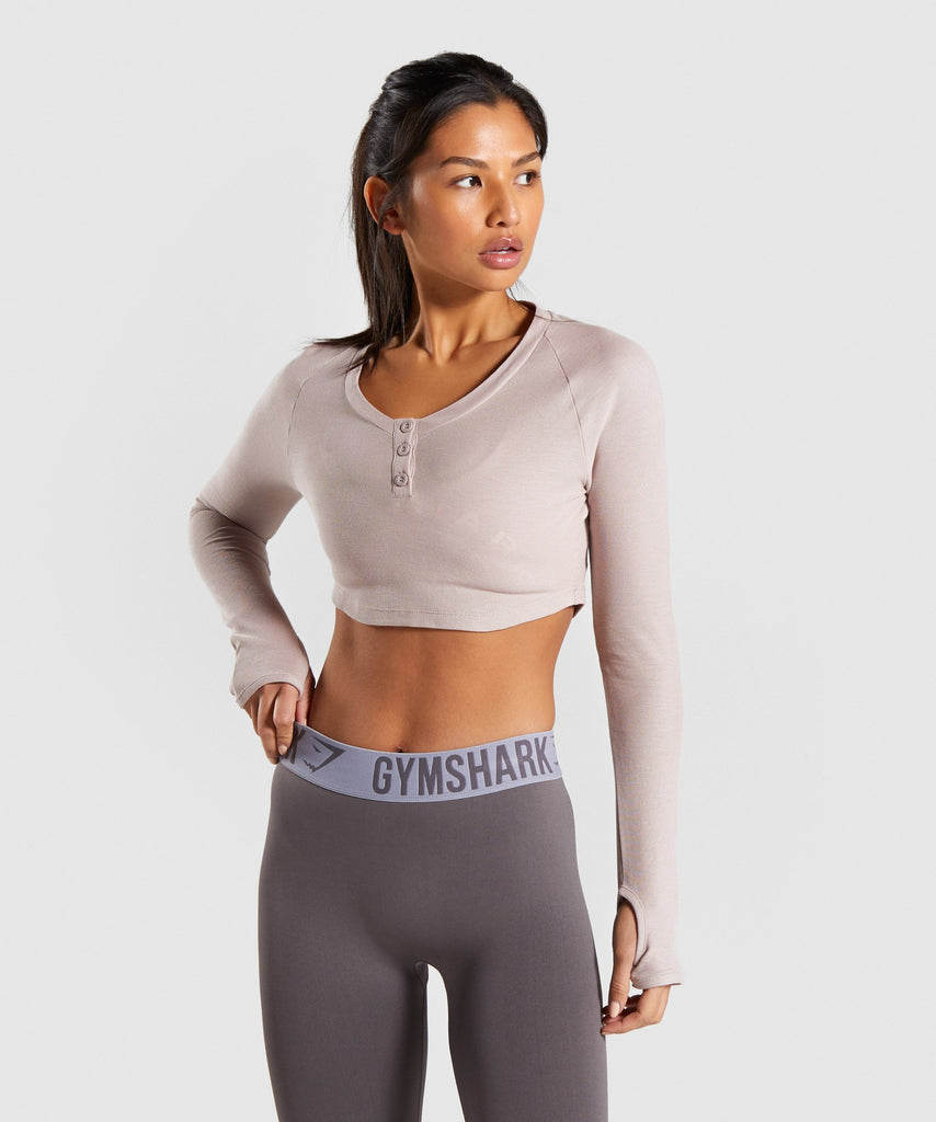 Gymshark Legacy Fitness Long Sleeve Crop Top - Taupe 1
