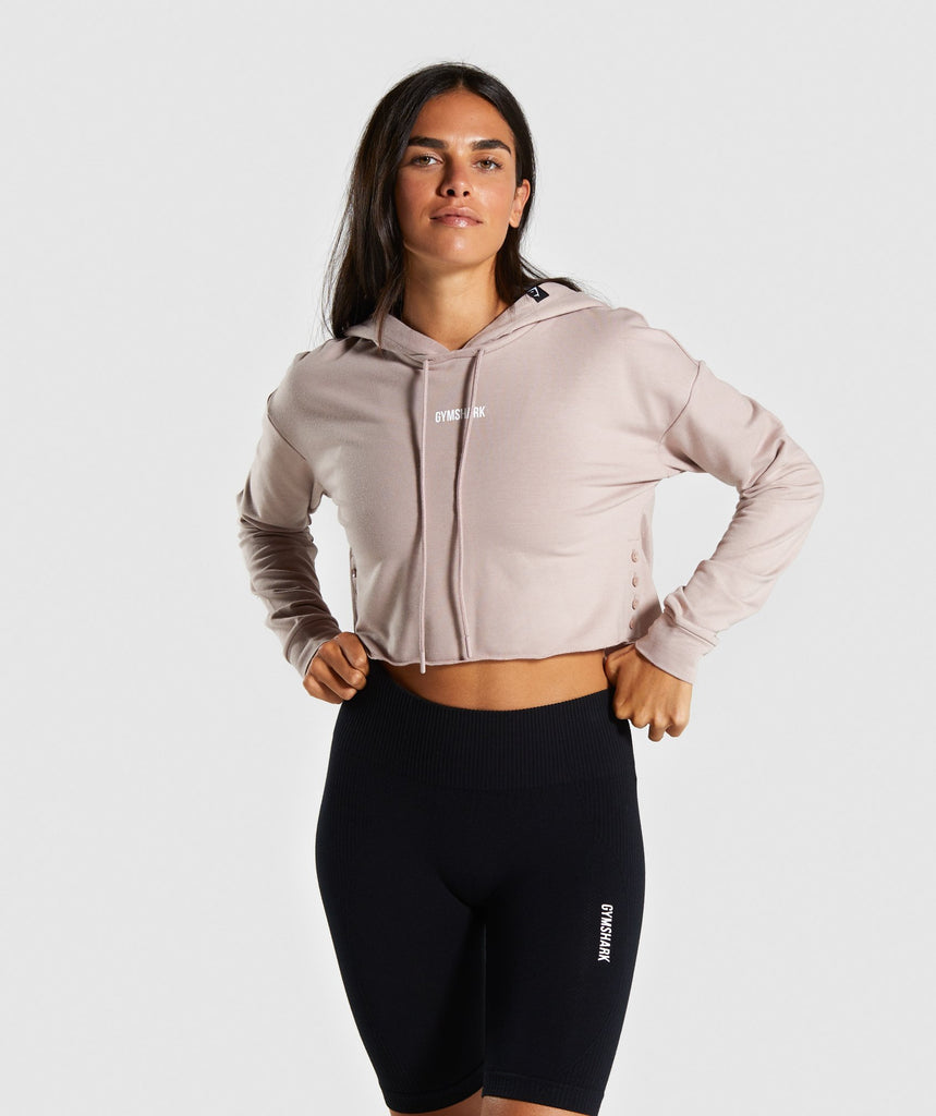 Gymshark Power Down Cropped Hoodie - Taupe 1