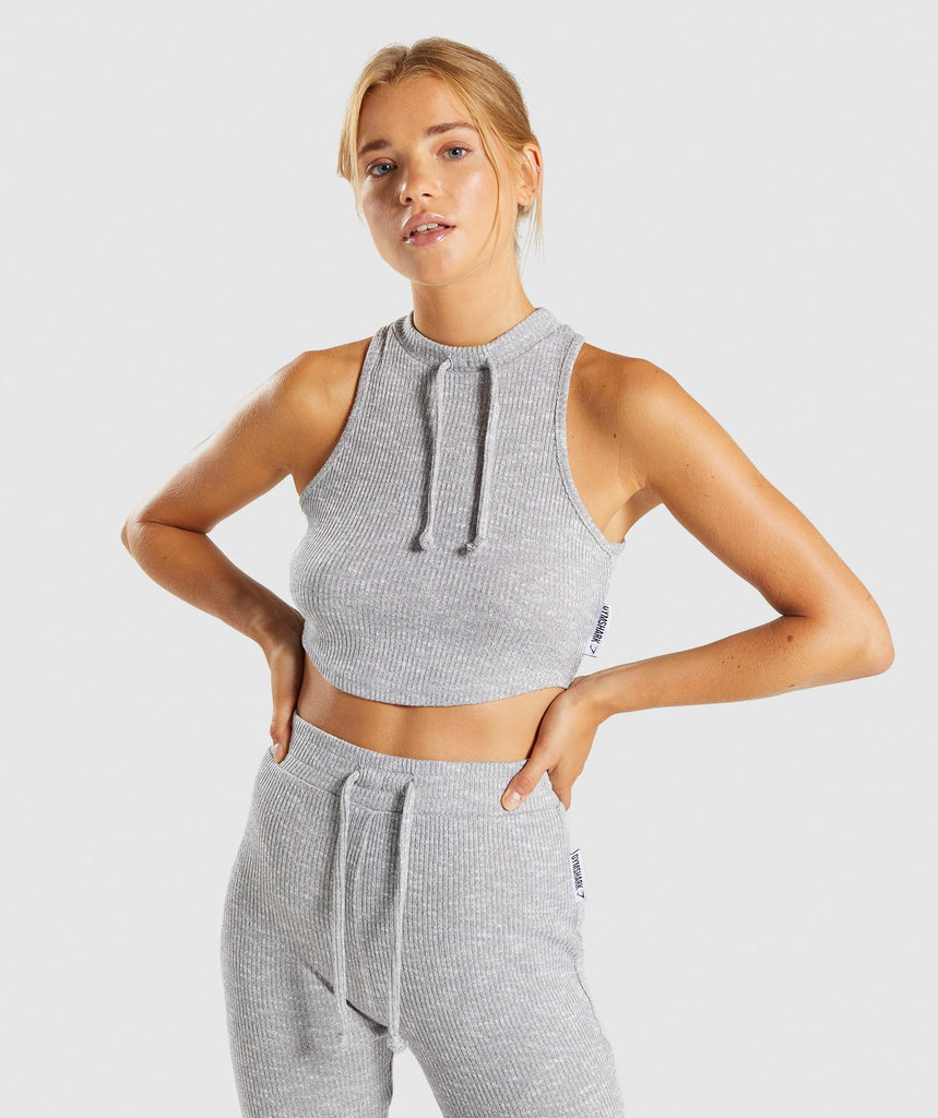 Gymshark Slounge Crop Top - Light Grey Marl 1