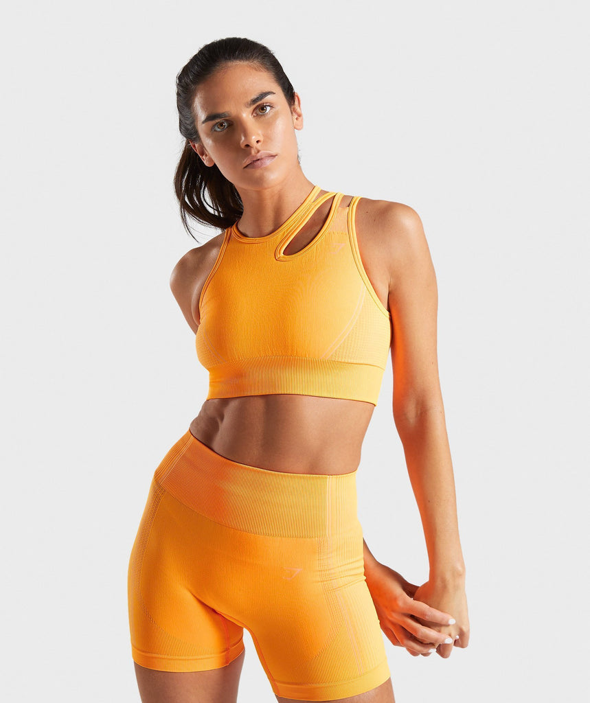 Gymshark Ultra Seamless Sports Bra - Orange 1