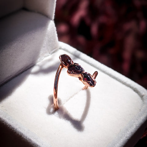 Garnet Trio Ring - Size 5.5