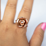 Copper Flower Ring - Size 8