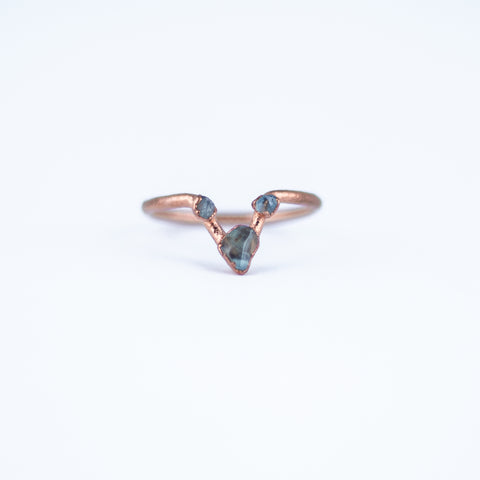 Aquamarine Trio Ring - Size 6