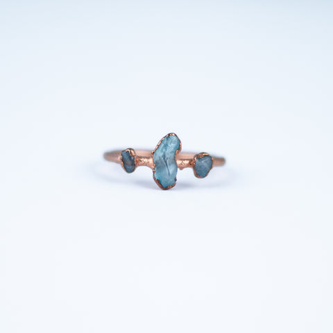Aquamarine Trio Ring - Size 7