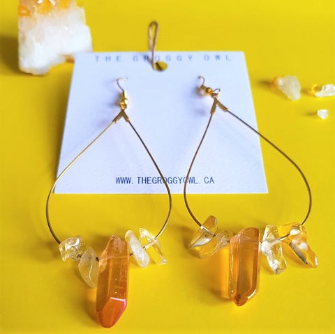 RAINSHINE Earrings - Citrine & Amber Quartz