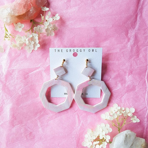 """Rose Quartz"" Clay Earrings 1"
