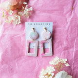 """Rose Quartz"" Clay Earrings 2"