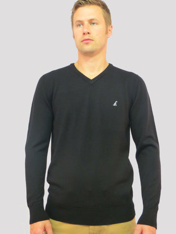 Black V-Neck Merino Wool Jumper by Anthony & Brown