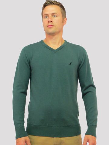 Airedale V-Neck Merino Wool Jumper/Sweater (Green)