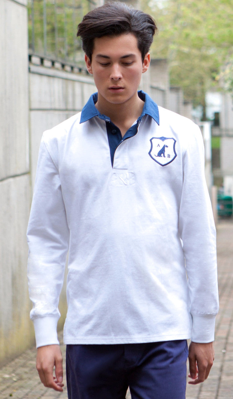 'Airedale' Rugby Shirt (White) by Anthony & Brown