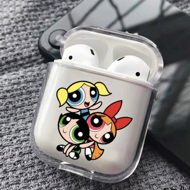 Cute Powerpuff Girls Hard Plastic Protective Clear Case Cover For Apple Airpods