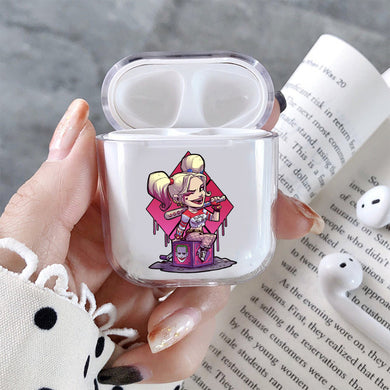 Harly Queen Mini Cartoon Hard Plastic Protective Clear Case Cover For Apple Airpods