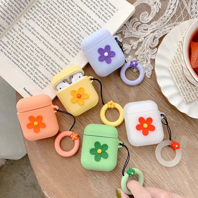 Colorful Flowers Silicone Protective Case Cover For Apple Airpods