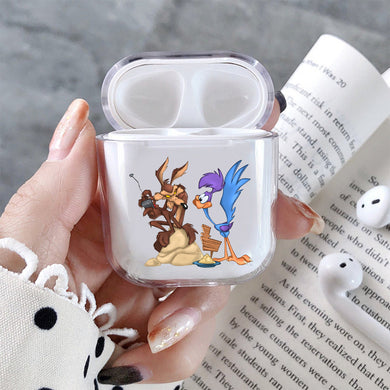 Road Runner and Wile E Coyote Hard Plastic Protective Clear Case Cover For Apple Airpods