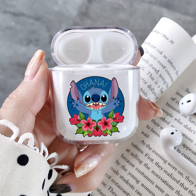 Stitch Ohana Hard Plastic Protective Clear Case Cover For Apple Airpods