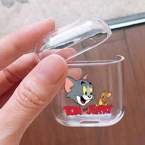 Tom Jerry Cartoon Hard Plastic Protective Clear Case Cover For Apple Airpods