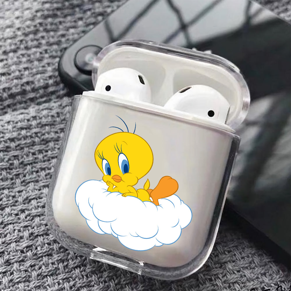 Tweety Cartoon Hard Plastic Protective Clear Case Cover For Apple Airpods