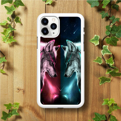 Two Wolf Red Blue Galaxy iPhone 11 Pro Max Case