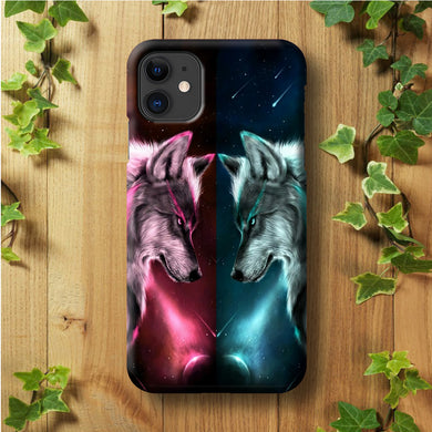 Two Wolf Red Blue Galaxy iPhone 11 Case