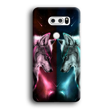 Two Wolf Red Blue Galaxy LG V30 3D Case