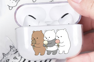 We Bare Bears Eat Ice Cream Hard Plastic Protective Clear Case Cover For Apple Airpod Pro