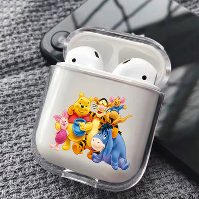 Winnie the Pooh Family Hard Plastic Protective Clear Case Cover For Apple Airpods