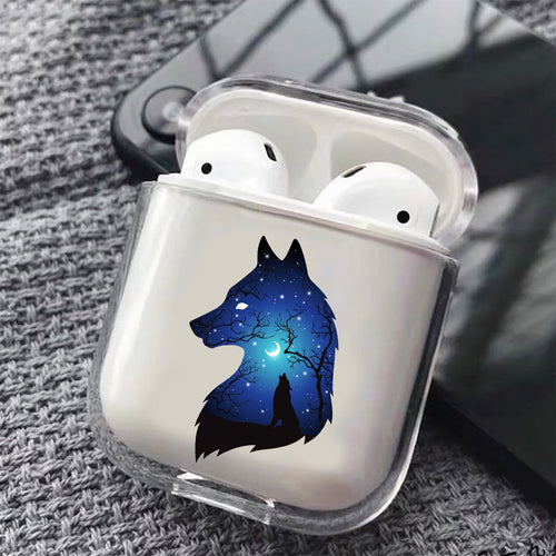 Wolf Silhouette Hard Plastic Protective Clear Case Cover For Apple Airpods