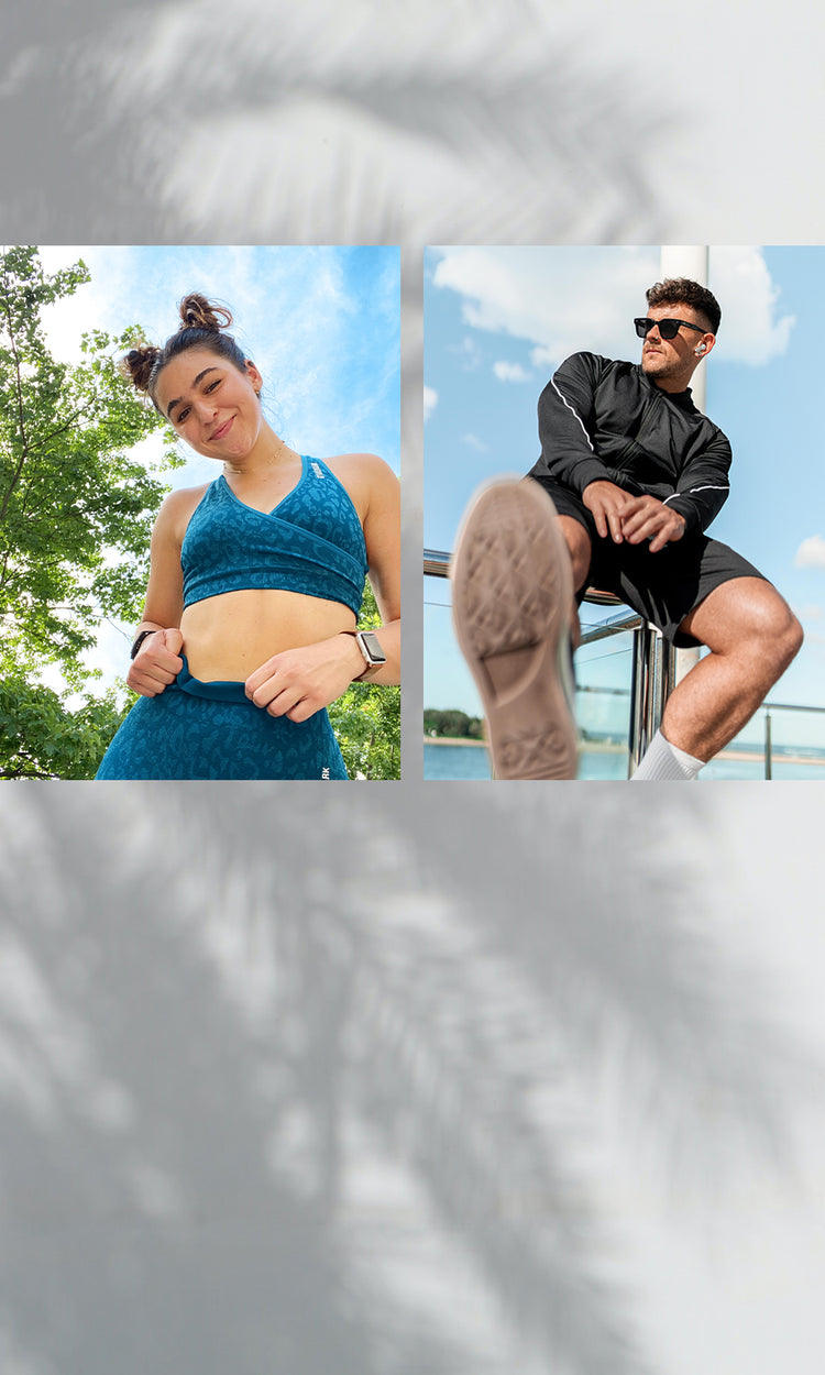 Collage of Gymshark Athletes featuring Savannah Wright, Natalie Bally and Nathan McCallum.