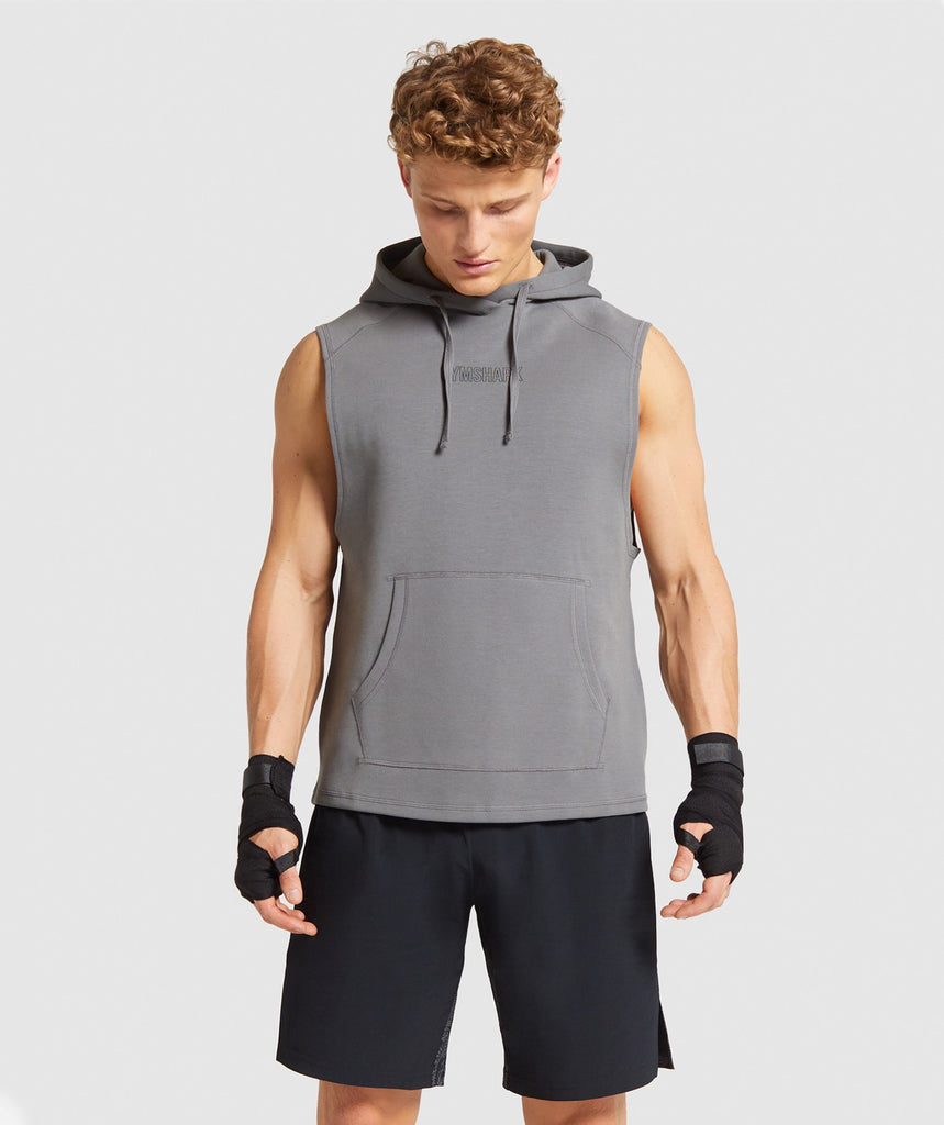 Gymshark Combat Sleeveless Hoodie - Smokey Grey 1