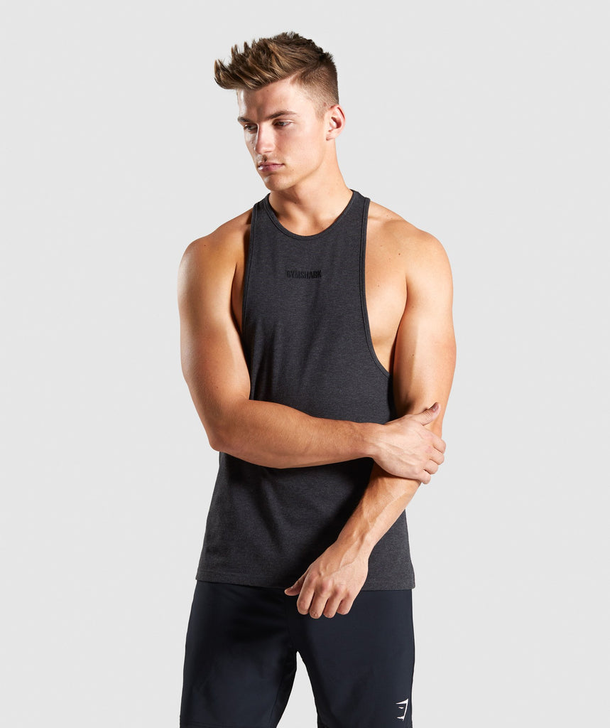 Gymshark Compound Stringer - Black Marl 1