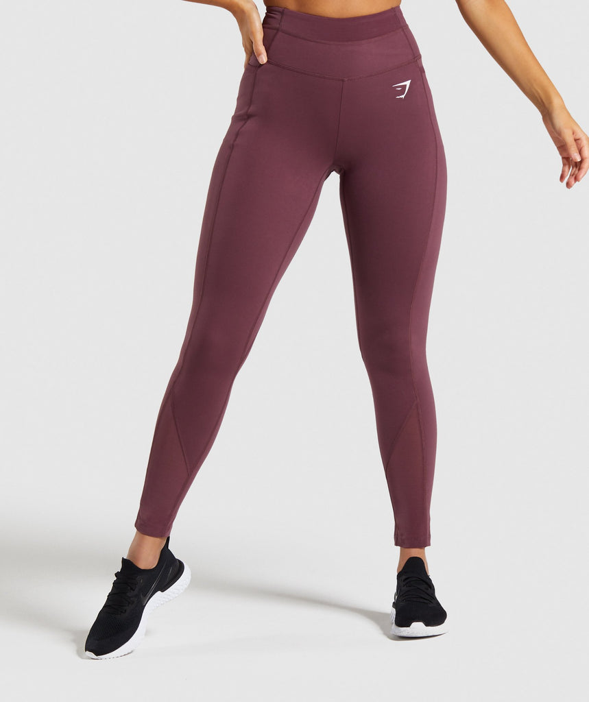 Gymshark Dreamy Mesh Leggings - Berry Red 1