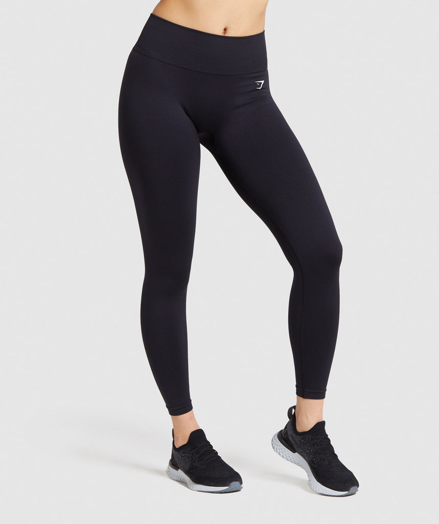 Gymshark Fit Mid Rise Leggings - Black/white 1