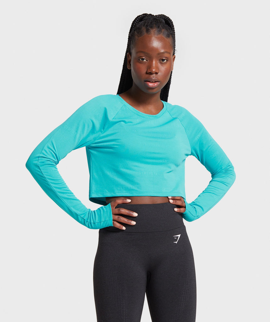 Gymshark Focus Long Sleeve Crop Top - Teal 1