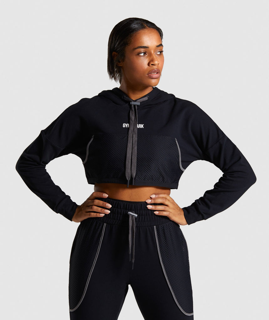 Gymshark Movement Mesh Cropped Hoodie - Black 1