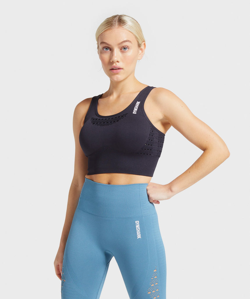 Gymshark Energy+ Seamless Crop Top - Black 1