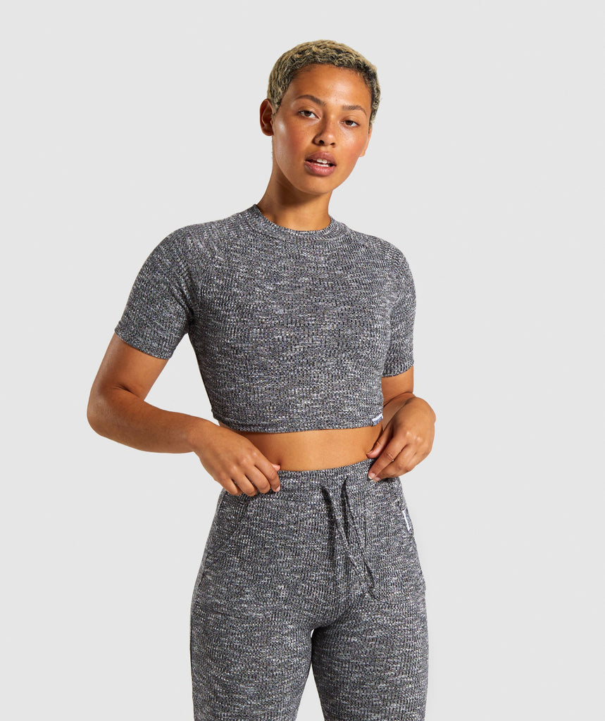 Gymshark Slounge Crop Top - Black Marl 1